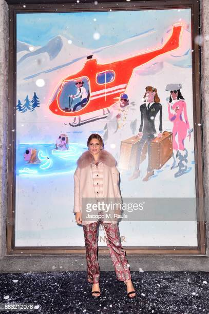 Nicoletta Romanoff attends the Moncler Flagship Store Opening Cocktail on October 19 2017 in Milan Italy