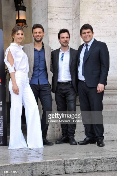 Nicoletta Romanoff Francesco Montanari Fabrizio Nevola and Giuseppe Alessio attend 'Le Verita' Phorocall In Rome on April 13 2017 in Rome Italy