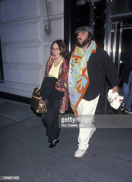 Nicolette Mantovani and Luciano Pavarotti during Luciano Pavarotti Leaving the Hampshire House in New York City April 8 1994 at Hampshire House Hotel...
