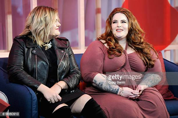 Nicolette Mason and Tess Holliday speak on stage during Refinery29's Every Beautiful Body Symposium at Brookfield Place on October 26 2016 in New...