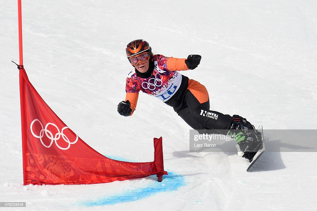 <a gi-track='captionPersonalityLinkClicked' href=/galleries/search?phrase=Nicolien+Sauerbreij&family=editorial&specificpeople=869490 ng-click='$event.stopPropagation()'>Nicolien Sauerbreij</a> of the Netherlands competes in the Snowboard Ladies' Parallel Giant Slalom Qualification on day twelve of the 2014 Winter Olympics at Rosa Khutor Extreme Park on February 19, 2014 in Sochi, Russia.