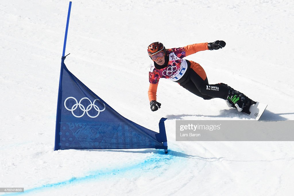 <a gi-track='captionPersonalityLinkClicked' href=/galleries/search?phrase=Nicolien+Sauerbreij&family=editorial&specificpeople=869490 ng-click='$event.stopPropagation()'>Nicolien Sauerbreij</a> of the Netherlands competes in the Snowboard Ladies' Parallel Giant Slalom 1/8 finals on day twelve of the 2014 Winter Olympics at Rosa Khutor Extreme Park on February 19, 2014 in Sochi, Russia.