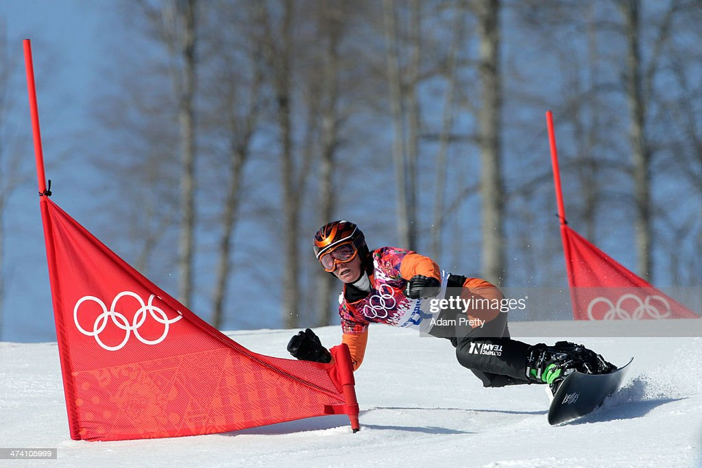 <a gi-track='captionPersonalityLinkClicked' href=/galleries/search?phrase=Nicolien+Sauerbreij&family=editorial&specificpeople=869490 ng-click='$event.stopPropagation()'>Nicolien Sauerbreij</a> of the Netherlands competes in the Snowboard Ladies' Parallel Slalom Qualification on day 15 of the 2014 Winter Olympics at Rosa Khutor Extreme Park on February 22, 2014 in Sochi, Russia.