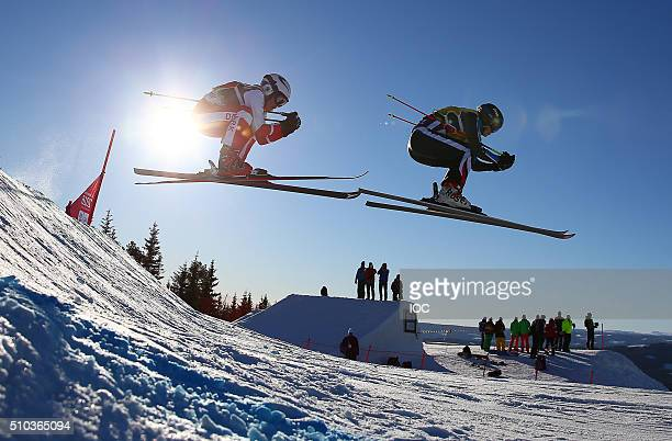 Nicoline Nielsen of Denmark and Margot Tresal Mauroz of France compete during the Ladies Ski Cross at the Hafjell Freepark heats at the Winter Youth...