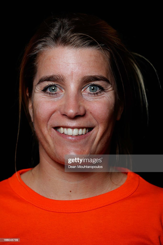Nicoline Sauerbrij, poses during the NOC*NSF (Nederlands Olympisch Comite * Nederlandse Sport Federatie) Sochi athletes and officials photo shoot for Asics at the Spoorwegmuseum on May 4, 2013 in Utrecht, Netherlands.