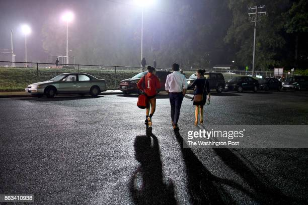 Nicolle Uria left heads for home with her brotherinlaw Alan Olmos and sister Lizett Uria after her volleyball match October 11 2017 in Annandale VA...