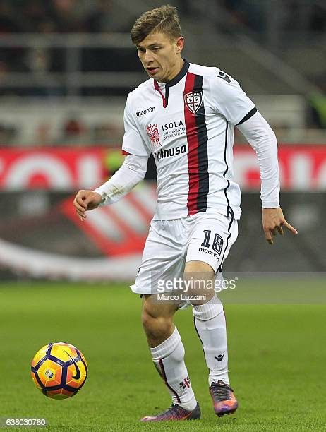 Nicolo Barella of Cagliari Calcio in action during the Serie A match between AC Milan and Cagliari Calcio at Stadio Giuseppe Meazza on January 8 2017...