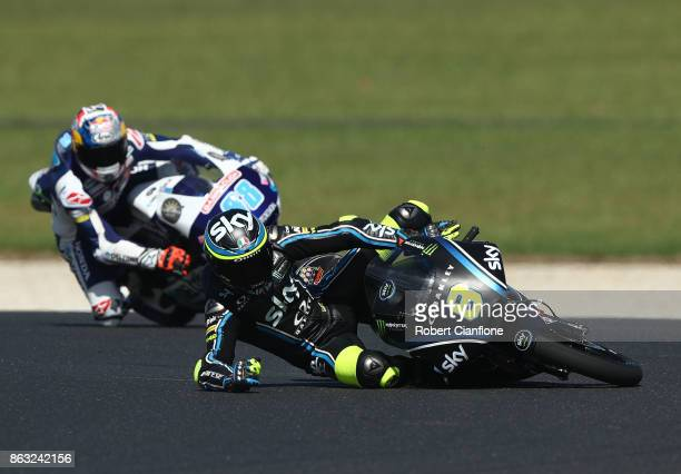 Nicolo Bulega of Italy and riding the Sky Racing Team VR46 KTM crashes out during Moto3 practice during free practice for the 2017 MotoGP of...