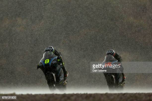 Nicolo Bulega of Italy and SKY Racing Team VR46 rides ahead of Andrea Migno of Italy and SKY Racing Team VR46 during free practice for Moto3 at...