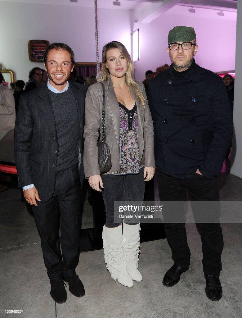 Nicolo Cardi Barbara Berlusconi and Flavio Favelli attends the 'Nicolo Cardi Presents Flavio Favelli Solo Show' At The Cardi Black Box Gallery on...