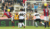 Nicolo Cherubin of Bologna FC scores the opening goal during the Serie A match between Bologna FC and Parma FC at Stadio Renato Dall'Ara on April 13...