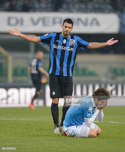 Nicolo' Cherubini of Atalanta FC maching penalty foul to Alberto Paloschi of Chievo Verona during the Serie A match betweeen AC Chievo Verona and...