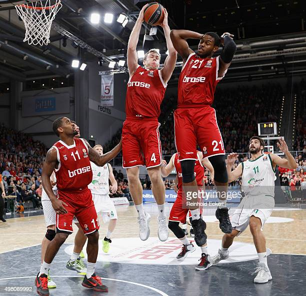 Nicolo Melli #4 and Darius Miller #21 of Brose Baskets Bamberg in action during the Turkish Airlines Euroleague Regular Season Round 6 game between...