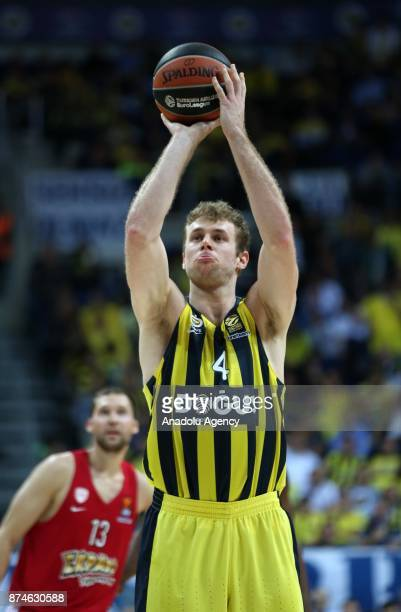 Nicolo Melli of Fenerbahce Dogus takes a foul shot during the Turkish Airlines Euroleague basketball match between Fenerbahce Dogus and Olympiacos at...