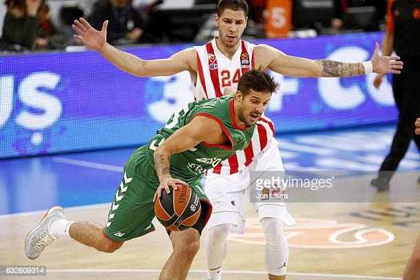 Nicols Laprovittola #15 of Baskonia Vitoria Gasteiz in action during the 2016/2017 Turkish Airlines EuroLeague Regular Season Round 19 game between...