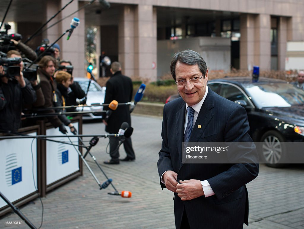 <a gi-track='captionPersonalityLinkClicked' href=/galleries/search?phrase=Nicos+Anastasiades&family=editorial&specificpeople=10113933 ng-click='$event.stopPropagation()'>Nicos Anastasiades</a>, Cyprus's president, arrives for a European Union leaders summit in Brussels, Belgium, on Thursday, Feb. 12, 2015. EU leaders will take up the baton on Greece when they gather in Brussels on Thursday after finance ministers from the euro area postponed decisions on the country's future financing until next week. Photographer: Jasper Juinen/Bloomberg via Getty Images