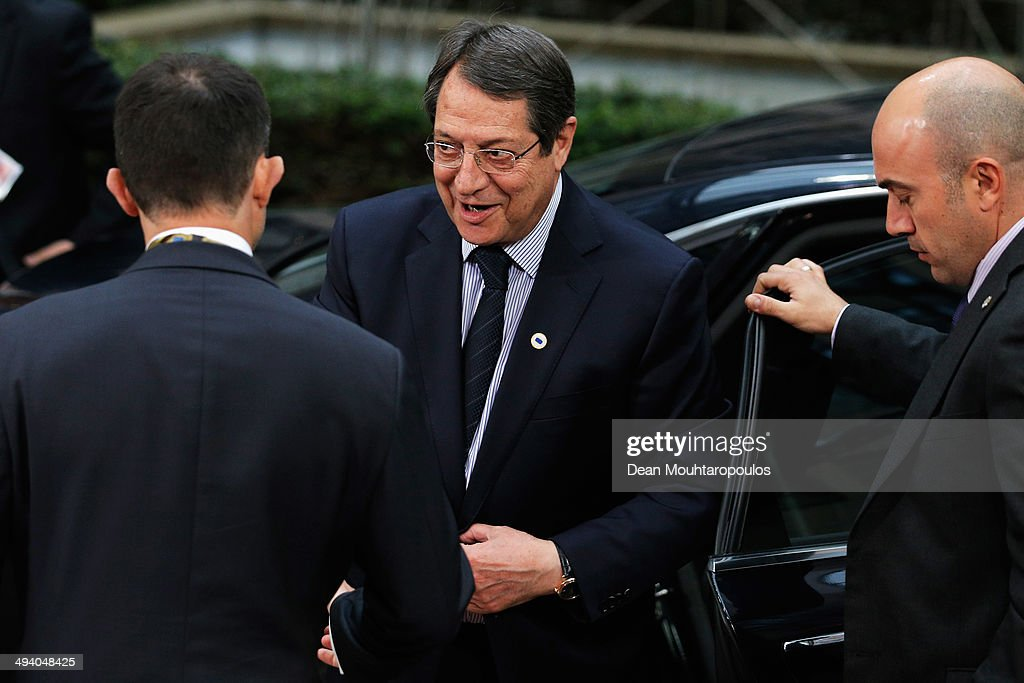 <a gi-track='captionPersonalityLinkClicked' href=/galleries/search?phrase=Nicos+Anastasiades&family=editorial&specificpeople=10113933 ng-click='$event.stopPropagation()'>Nicos Anastasiades</a>, President of the Republic of Cyprus, arrives for the Informal Dinner of Heads of State or Government held at the Justus Lipsius Building on May 27, 2014 in Brussels, Belgium. Voting in the European elections resulted in significant gains for Eurosceptic parties in several countries across the continent in what has been described as a political 'earthquake'.