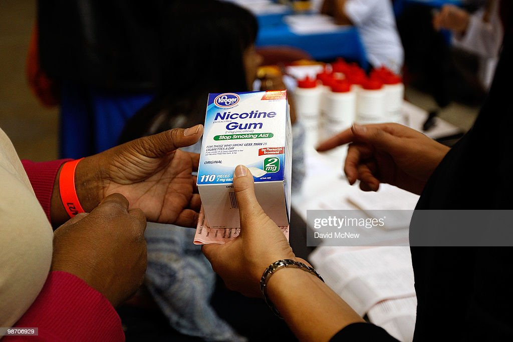 Nicotine gum is given to people who want to quit smoking at the Remote Area Medical (RAM) clinic at the Los Angeles Sports Arena on April 27, 2010 in Los Angeles, California. More than 6,000 people were given wristbands over the weekend, some of them waiting overnight, to receive the free medical, dental and vision care. RAM hopes to treat 8,400 patients at the event which runs from April 27 to May 3. A Los Angeles-area RAM event in 2009 provided more than 14,500 services to approximately 6,344 patients. Los Angeles is reportedly home to 2.2 million uninsured people.