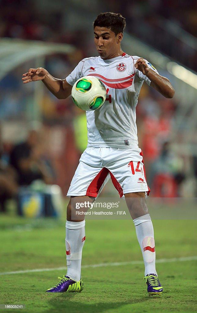 Nidhal Ben Salem of Tunisia during the FIFA U-17 World Cup UAE 2013 round of 16 match between Argentina and Tunisia at the Rashid Stadium on October 29, 2013 in Dubai, United Arab Emirates.