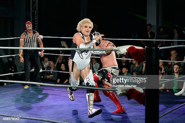 Niebla Roja Diva Salvaje and Magnus perform onstage during the EXOTICOS VS LUCHADORES Lucha Libre Show hosted by La Fondation Cartier in Paris on...