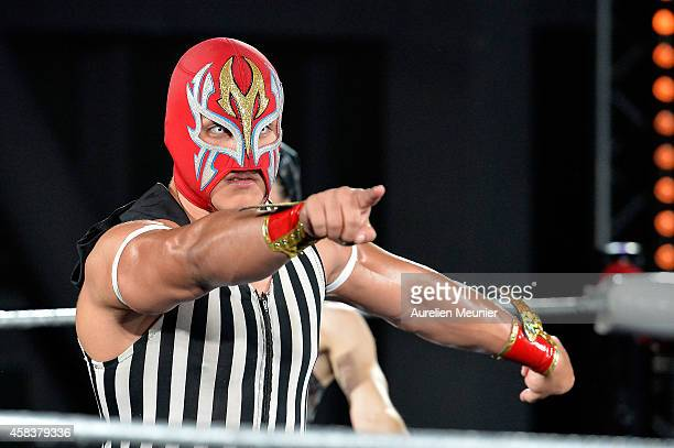 Niebla Roja performs onstage during the EXOTICOS VS LUCHADORES Lucha Libre Show hosted by La Fondation Cartier in Paris on November 3 2014 in Paris...