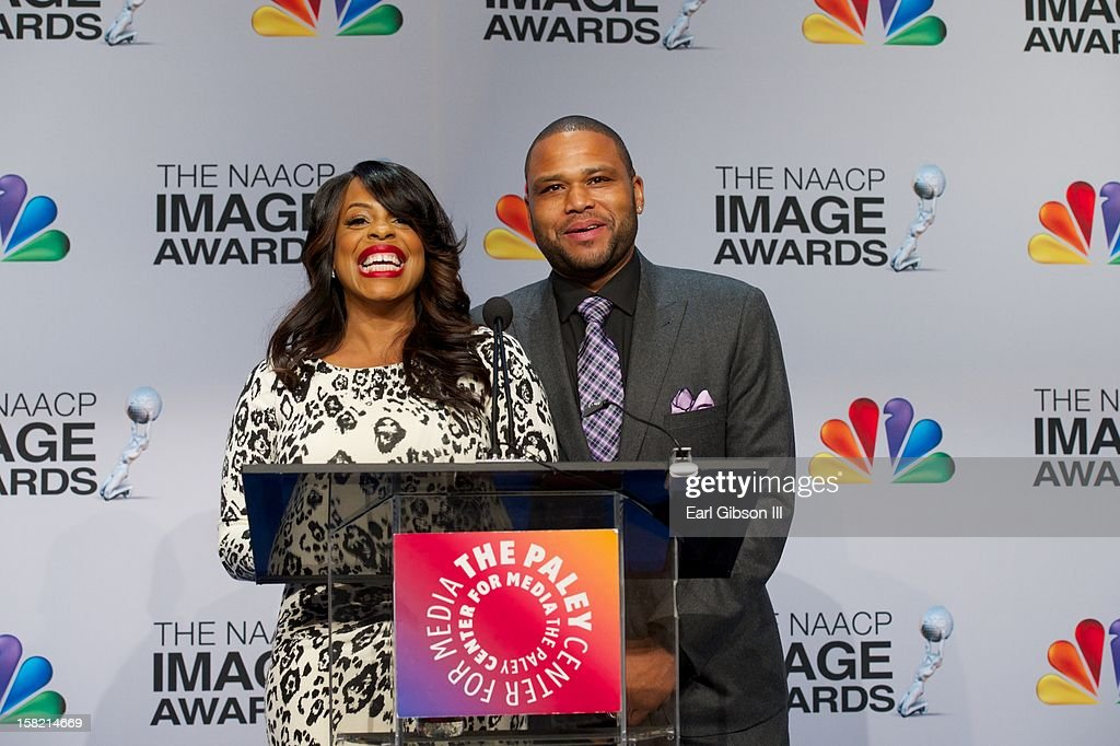 Niecy Nash and Anthony Anderson annouce the nominees at the 44th NAACP Image Awards Press Conference at The Paley Center for Media on December 11, 2012 in Beverly Hills, California.