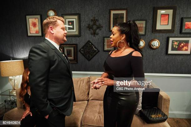 Niecy Nash chats in the green room with James Corden during 'The Late Late Show with James Corden' Thursday July 27 2017 On The CBS Television Network
