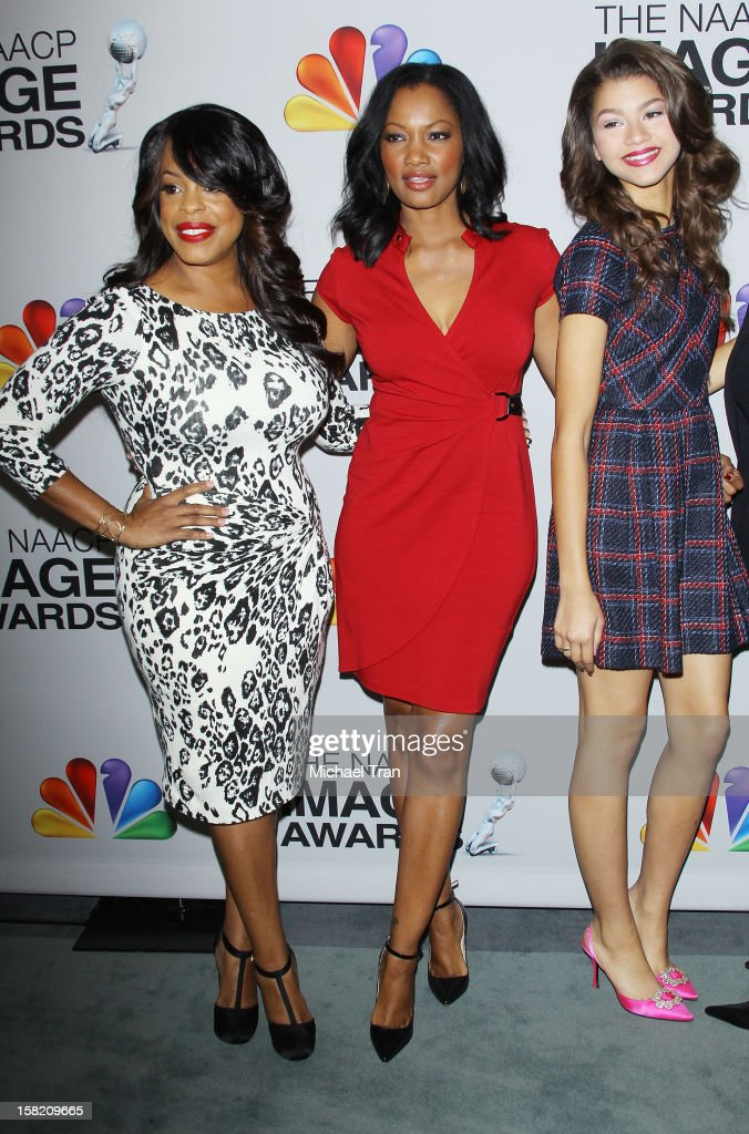 Niecy Nash, Garcelle Beauvais and Zendaya Coleman arrive at the 44th NAACP Image Awards nominations announcement held at The Paley Center for Media on December 11, 2012 in Beverly Hills, California.