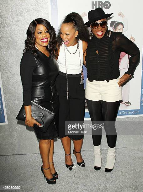 Niecy Nash Kellee Stewart and Aisha Hinds arrive at the Los Angeles Premiere of HBO's 'Getting On' held at Avalon on October 28 2014 in Hollywood...