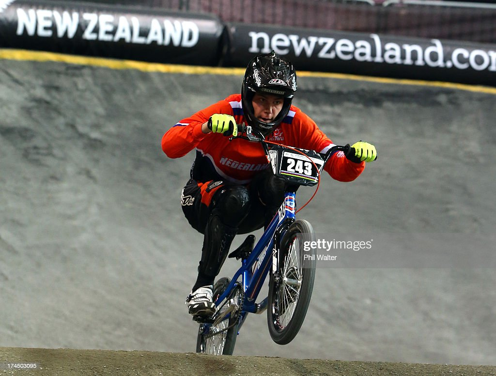 Niek Kimmann of the Netherlands competes in the Junior Mens time trial during day four of the UCI BMX World Championships at Vector Arena on July 27, 2013 in Auckland, New Zealand.