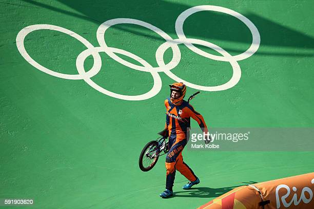 Niek Kimmann of the Netherlands crashes in the Cycling BMX Men's Quarterfinals on Day 13 of the 2016 Rio Olympic Games at Olympic BMX Centre on...