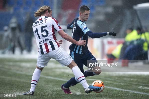 Niek Vossebelt of Willem II Kevin Jansen of ADO Den Haag during the Dutch Eredivise match between Willem II and ADO Den Haag at the Koning Willem II...