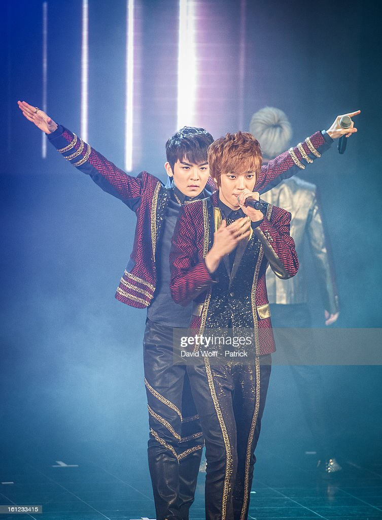 Niel and Ricky from Teen Pop perform at Le Trianon on February 9, 2013 in Paris, France.