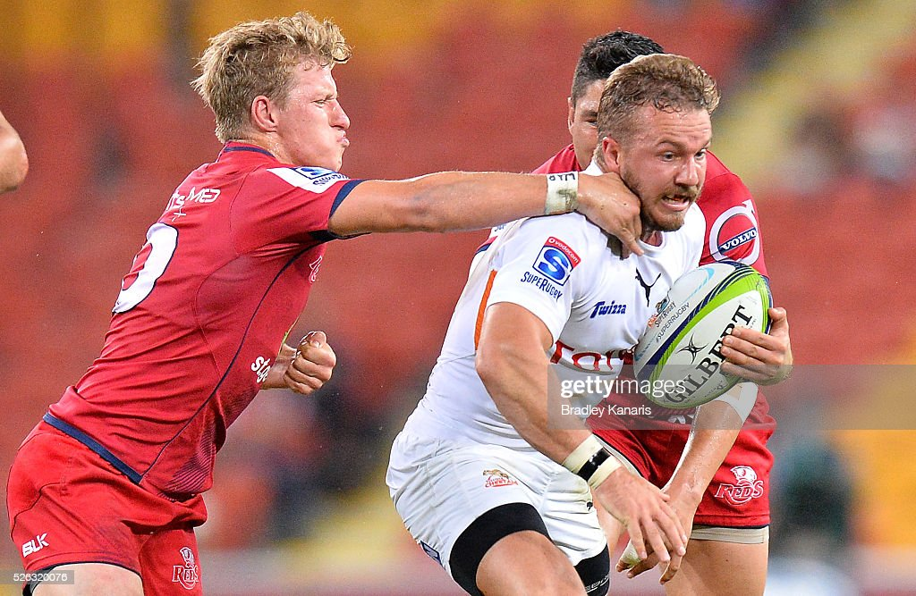 Niel Marais of the Cheetahs attempts to break through the defence during the round 10 Super Rugby match between the Reds and the Cheetahs at Suncorp Stadium on April 30, 2016 in Brisbane, Australia.