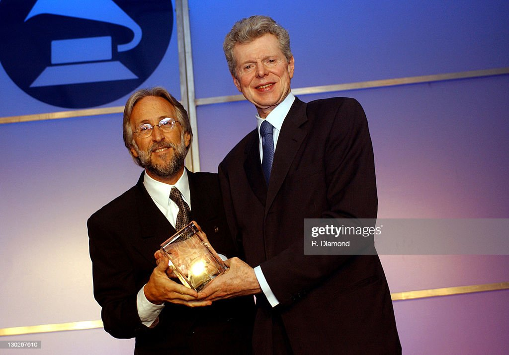 Niel Portnow and <a gi-track='captionPersonalityLinkClicked' href=/galleries/search?phrase=Van+Cliburn&family=editorial&specificpeople=94186 ng-click='$event.stopPropagation()'>Van Cliburn</a> during The 46th Annual GRAMMY Awards - Nominee Reception and Special Awards Ceremony at California Science Center in Los Angeles, California, United States.
