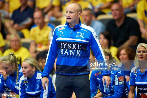 Niels Agesen head coach of Nykobing Falster Handbold giving instructions from the bench during the Primo Tours Ligaen 3 Final match between Nykobing...
