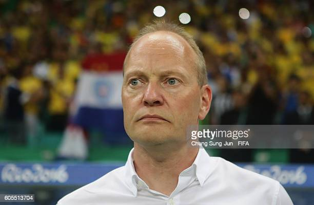 Niels Frederiksen head coach of Denmark looks on before the Men's Football match between Denmark and Brazil on Day 5 of the Rio 2016 Olympic Games at...