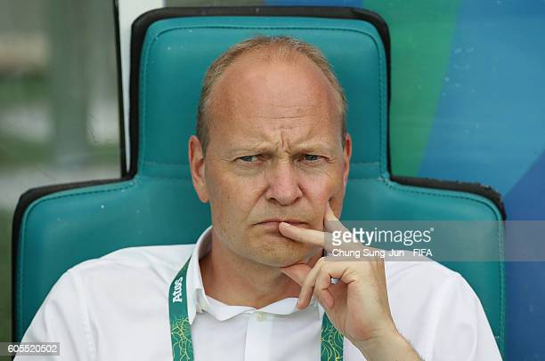Niels Frederiksen head coach of Denmark looks on during the Men's Football Quarter Final match between Nigeria and Denmark on Day 8 of the Rio 2016...