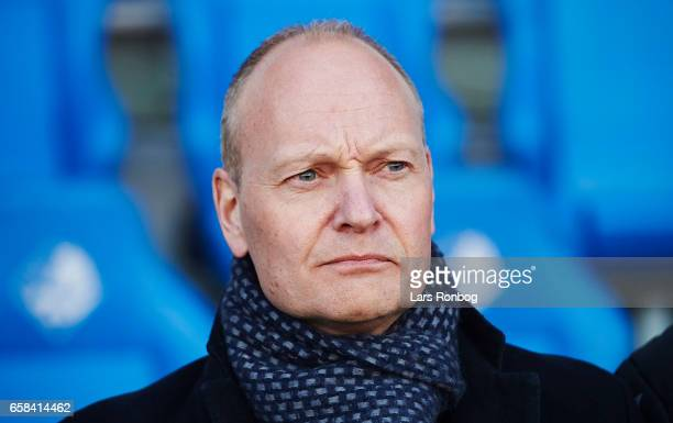 Niels Frederiksen head coach of Denmark U21 $looks on prior to the U21 International friendly match between Denmark and England at BioNutria Park on...