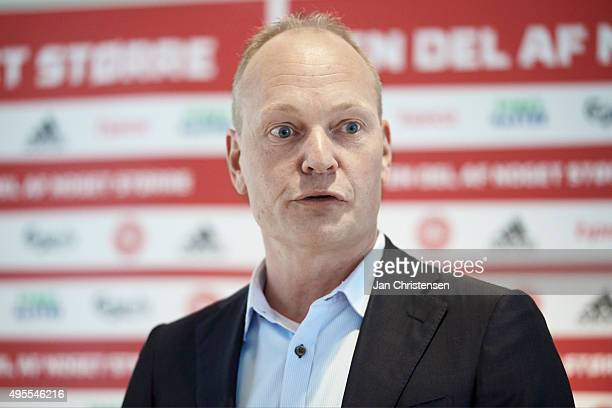 Niels Frederiksen head coach of Denmark U/21 speaks to the media during the Danish FA DBU Press Conference at Fodboldens Hus on November 02 2015 in...