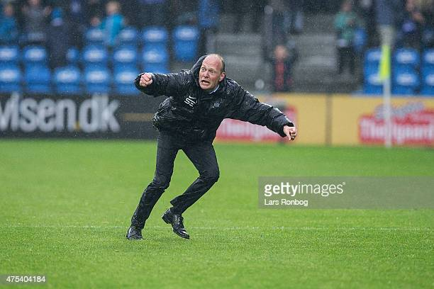 Niels Frederiksen head coach of Esbjerg FB celebrate their victory after the Danish Alka Superliga match between Esbjerg fB and FC Vestsjalland at...