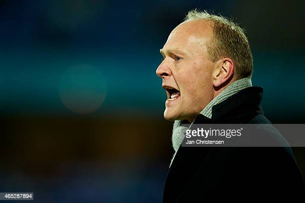 Niels Frederiksen head coach of Esbjerg FB gives instructions during the Danish DBU Pokalen Cup match between Esbjerg FB and AaB Aalborg at Blue...