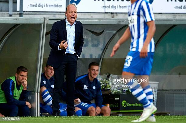 Niels Frederiksen head coach of Esbjerg fB gives instructions during the Danish Alka Superliga match between Esbjerg fB and FC Copenhagen at Blue...