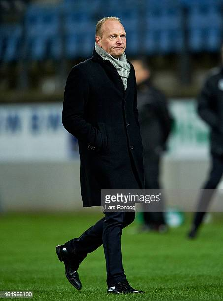 Niels Frederiksen head coach of Esbjerg FB looks dejected after the Danish Alka Superliga match between Esbjerg fb and AaB Aalborg at Blue Water...