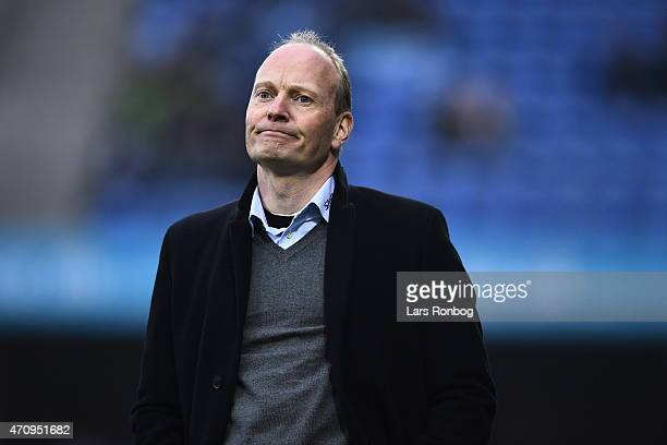 Niels Frederiksen head coach of Esbjerg FB looks dejected during the Danish Alka Superliga match between Esbjerg fB and OB Odense at Blue Water Arena...