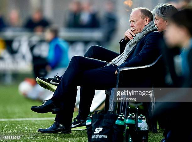 Niels Frederiksen head coach of Esbjerg FB looks on during the Danish Alka Superliga match between Hobro IK and Esbjerg fB at DS Arena on April 10...