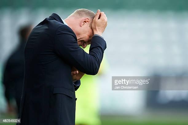 Niels Frederiksen head coach of Esbjerg fB show frustrations during the Danish Alka Superliga match between Viborg FF and Esbjerg fB at Energi Viborg...