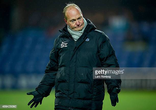 Niels Frederiksen head coach of Esbjerg FB shows frustration during the Danish Superliga match between Esbjerg FB and Hobro IK at Blue Water Arena on...