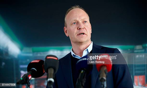 Niels Frederiksen U21 coach of Denmark speaks to the media during the Danish FA Press Conference at DBU on March 9 2016 in Brondby Denmark