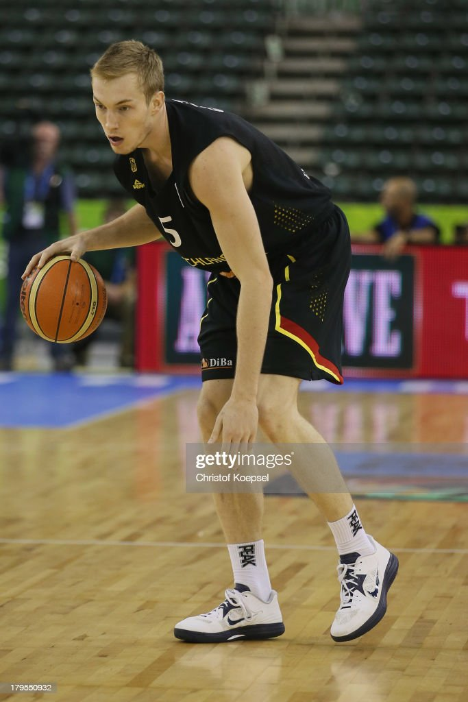 Niels Giffey of Gemany leads the ball during the FIBA European Championships 2013 first round group A match between France and Germany at Tivoli Arena on September 4, 2013 in Ljubljana, Slovenia.